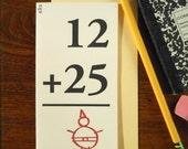 letterpress 12 plus 25 equals santa claus greeting cards pack/6 vintage flash card math children 12+25=santa