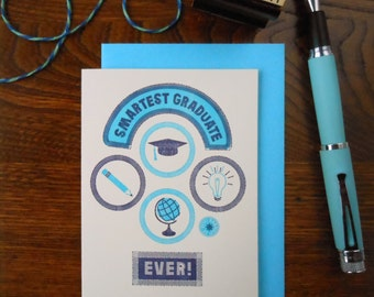 letterpress smartest graduate patches greeting card mortarboard tassel pencil globe navy with aqua on off white