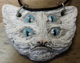 Four Eyed Fluffy Kitten Critter Necklace - OOAK