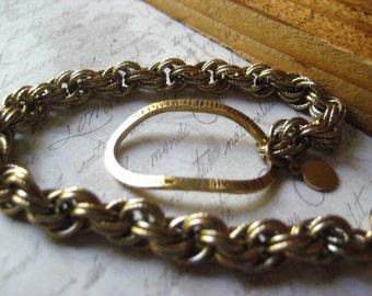 Bronze Bracelet, Bronze Link, Bracelet Link, Vintage Chain, Etched Links,  Golden Bracelet, Hammered Texturing,  Womens Jewelry, candies64
