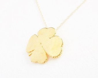 SALE  -  Real 4 Leaf Clover Pendant Dipped in 24kt Gold with a 14kt Gf Chain