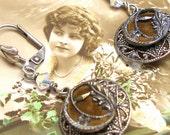 Antique Perfume BUTTON earrings, Victorian velvet buttons. Button jewellery.