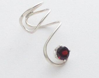 Sterling Garnet Ear Cuff - RED SPIRAL SPARKLE - Handcrafted Silver 925 Faceted Gemstone Earcuff