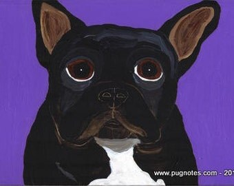 Black French Bulldog Note Cards by Melissa Langer
