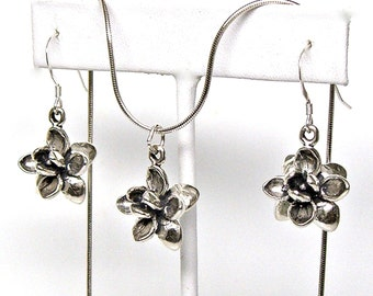 Lotus Flower Sterling Silver Set Necklace Earrings Dangle Ear Wires no. 2006