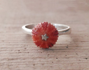 Sterling Silver Minimalist Pink Sea Urchin Ring One of a Kind Size 8