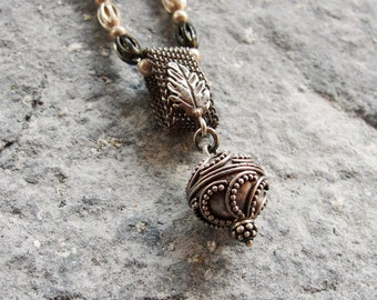 Bohemian Silver Necklace Oxidized Sterling Silver Boho Necklace Handwoven Ethnic Jewelry