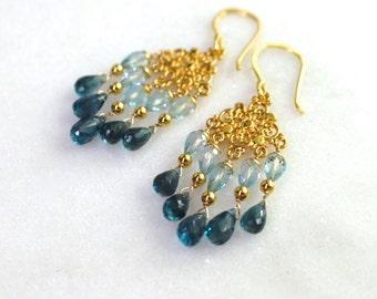 Swiss Topaz, London Blue Topaz Sparkling Chandelier Earrings in 22kg Vermeil...