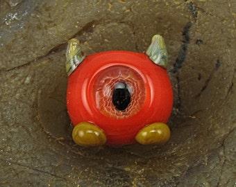 ON SALE Handmade Lampwork Glass Mini Alien Focal Bead by Jason Powers SRA