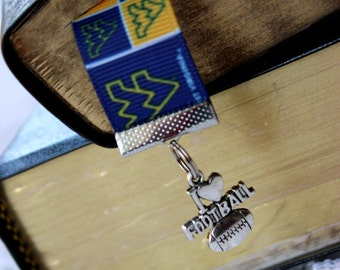 Mountaineers Ribbon Book Mark - Blue and Gold Ribbon Book Mark with Football Silver Charm - Book Accessory - Gift Guide - Teacher Gift WVU