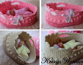 """Crochet Moses Basket - Doll Carrier Crochet Pattern - 12-16"""" doll - Crochet Basket Pattern - Embellishment Tute - KrissysWonders"""
