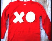 Valentine's Day Heart U long sleeve white xo love you T Shirt Applique- Kids Boys Girls Twins Big Bro Lil Sis red white hearts children baby