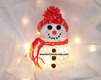 Crochet Snowman With Lights, Red, Yellow, & Orange Blend