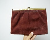 LISETT . brown suede leather handbag with gold chain / clutch