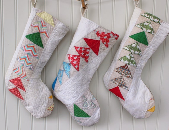 Vintage Quilt Christmas Stockings - Holiday Stocking - Handmade - Flying Geese - Country Farmhouse Farm Style - Tan Ticking - OOAK