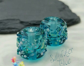 Lampwork Beads Saltwater Blue Blossom Pair Limited Edition
