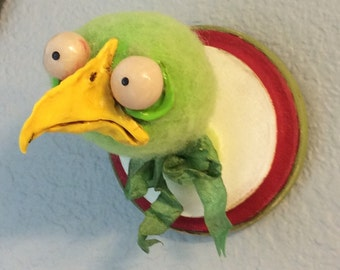Faux Taxidermy the green Bird Ooak needle felted
