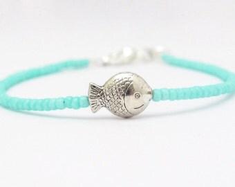 Fish Bracelet, Turquoise Friendship Bracelet, Turquoise Blue Glass Beads, Seed Bead Bracelet, Beaded Bracelet, , Hawaiian Jewelry
