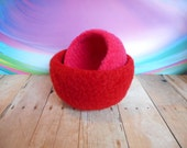 Valentines, Red, Pink, Handmade, Wool,  Mini Felted  Whatnot/Ring  Bowls, Set of  2, Trinket Bowls