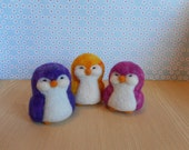 RESERVED for Lisa, Needle Felted Penguins, Set of Three, Handmade, Wool, Tie Dye Colors, Uber Cute