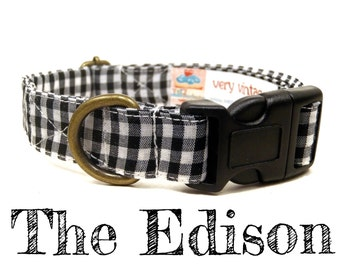 "Black White Gingham Plaid Preppy Dog Collar - Organic Cotton - Antique Brass Hardware - ""The Edison"""