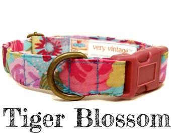 "Vintage Dog Collar - Floral Dog Collar - Girl Dog Collar - Shabby Chic Dog Collar - Antique Brass Hardware - ""Tiger Blossom"""