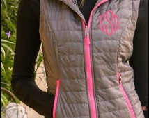 Gray and Hot Pink Monogrammed Radius Quilted Puffy Vest - Full Zip Charles River Vest - Personalized womens vest - SIZES XS TO 3XL, grey