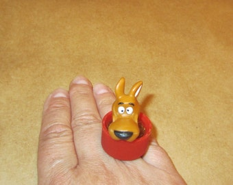 Scooby Doo  - upcycled bottle cap ring - red