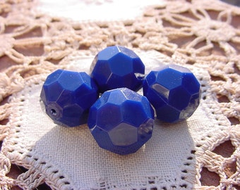Navy Blue Bold Facets Vintage Lucite Beads