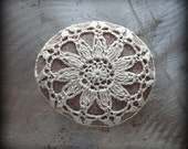 Crochet Lace Stone, Flower, Table Decoration, Home Decor, Nature, Handmade, Ecru, Unique, Gift, Monicaj