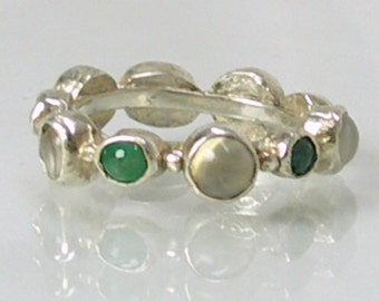 Eternity Ring with Emerald and Moonstone-Emerald Ring-Alternative Wedding Band