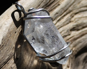 Crystal Talisman - Double Terminated Tibetan Quartz - Sterling Silver Pendant - Artisan Made