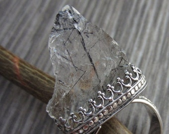 SALE Crystal Peak Ring - Natural Tourmalinated Quartz in Sterling Silver