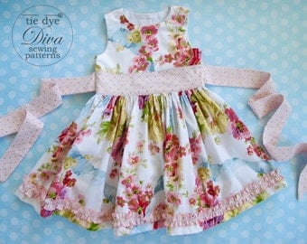 Girls Dress Pattern - Perfect Party Dress - Classic GIrls Dress Pattern with Sash - PDF