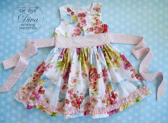 Girls Dress Pattern - Perfect Party Dress - Classic GIrls Dress Pattern with Sash - PDF