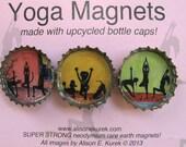 Yoga Magnets - Yoga Cats - Yoga Dogs - Yoga Class - Bottle Cap Magnets - Set of 3 - Yoga Gift - Yoga Art