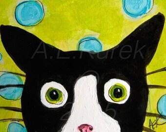 Funny Cat Cards - Tuxedo Cat Art - Cat Note Cards - Spotty Mylo - Blank Cards