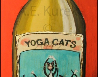 Wine Wall Art - Cat Wall Art - Yoga Wall Art - Plak Mounted Yoga Cat Chardonnay Print - Wine Art Work - Cat Gift - Yoga Gift - Wine Gift
