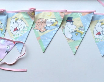Fabric bunting reused cotton Moomins banner fabric garland