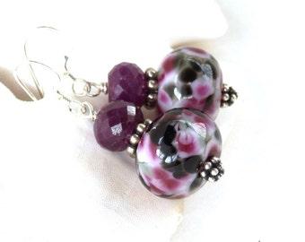 Natural Ruby Earrings, Artisan Lampwork Earrings, July Birthstone Earrings, Black Earrings, Merlot Art Glass Earrings, Bold Earrings, Alexa