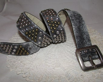 Vintage Worn Gray Faux Leather Belt with Brass & Silver tone Rivets and Rhinestone Studs, fashion accessory, rock n roll