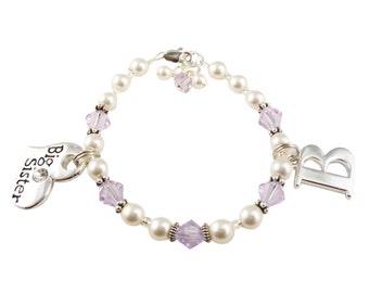 Swarovski pearl & crystal Big Sister bracelet, Violet purple and White pearl/ any colors