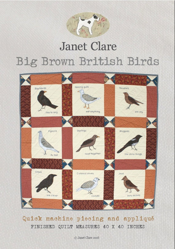 Big Brown British Birds - A fun appliqué quilt featuring my favourite big British birds (some of which are brown!)