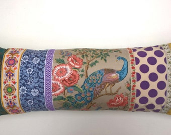 Stock Clearance Bargain - Vintage Peacodk Bolster Style Fabric Cushion / Pillow Cover