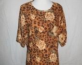 Vintage long shirt 90's animal print cheetah floral flowers