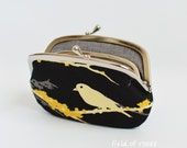 On Sale Women's Wallet Frame Purse with Divider Bird Black Simple Wallet 2 Section Purse 2 Compartment Purse