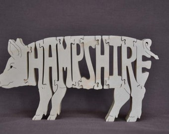 Hampshire Pig Swine Hog Wooden Farm Animal Puzzle Toy Hand Cut  with Scroll Saw