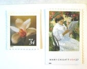 Wedding Postage Stamps, Cassatt Paintings Stamps, Flower Stamps,  Mail 20 Floral Romantic Invitations 2 oz, 71 cents unused postage stamps