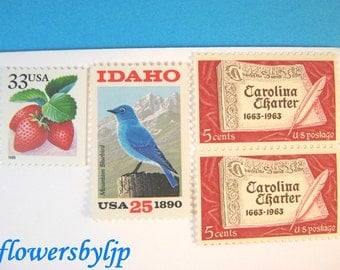 Wedding Postage Stamps Red + Blue, Bluebird Mountain Stamp, Berry Carolina Idaho, Mail 20 Invitations 2 oz, 68 cents vintage postage unused