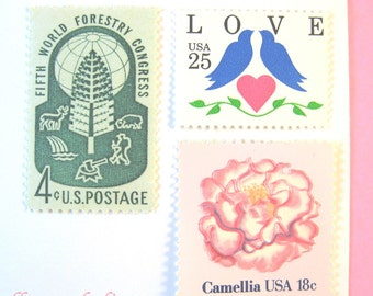 Vintage Postage Stamps, Pink Love in the Woods, Pink + Red Flowers, Love Doves Pink Heart, Mail 10 Cards, Woodland RSVPs 1 oz 47 cent stamps